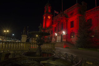 Town hall lit Red for worldwide pressure injury prevention day.