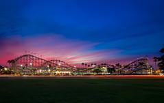 Belmont Park at Sunset (jerschneid) Tags: bellmontpark california clouds missionbeach rollercoaster sandiego sky sunset