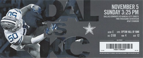 November 5, 2017, Dallas Cowboys vs Kansas City Chiefs, AT&T Stadium, Arlington, Texas - Ticket Stub