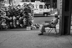hatman nyc (rick miller foto) Tags: monochrome mono bw blackandwhite highline newyork nyc hats