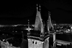 The two towers (radimersky) Tags: katedrálasvduch katedra noc night blacwhite monohrome cityspace czechrepublic czech czechy europa europe whitetower dmclx100 panasonic lumix micro fourthirds 43 bw history cathedral hradeckralove miasto zabytek monument monochrome building panorama