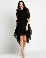 Black Ashley Asymmetrical Shirt Dress (neha.thakur35) Tags: blackdress blackdressesforwomen