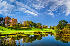 forever blue (JimfromCanada) Tags: fall autumn color colour tree reflection sky blue cloud golf greenpretty dundas hamilton ontario canada lake water