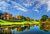 forever blue (JimfromCanada) Tags: fall autumn color colour tree reflection sky blue cloud golf greenpretty dundas hamilton ontario canada lake water
