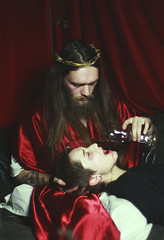 Holy Blood (le clair de lune) Tags: jesus church christianity portrait people bar holy catholic red thorns beard wine mirror surreal irony