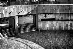 Dans la cadre! / In the box! (vedebe) Tags: noiretblanc netb nb bw monochrome ville city rue street urbain théâtre homme humain people escaliers architecture art ombres lumières