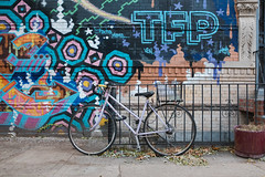Purple Ross Bicycle in Front of Mural (Zach K) Tags: bicycle bike pedals wheels velo two wheeler purple lavender tfp graffiti mural bed stuy bedford stuyvesant brooklyn central nyc new york city borough bklyn fujifilm fuji x100f