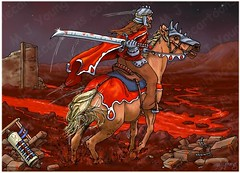 Revelation 06 - The Scroll seals - Scene 02 - Second seal Red rider (with blood) (Martin Young 42) Tags: revelation revelation634 redhorse redhorserider palomino sword blood bloodred 7sealscroll secondseal secondsealopened warfare riverofblood debris rubble