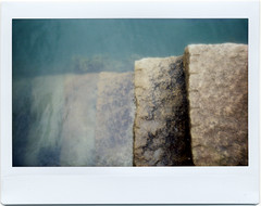 Steps (Summer of '16) (selyfriday) Tags: selyfriday wwwnassiocomempty nassiocom instant fuji fujifilm instax instax100 film summer 2016 maine cascobay wolfsneck woods wharf point walker child path cottage hightide pier steps seaweed granite