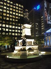 Statue Place d'Armes Montreal (davidsharp159) Tags: canada montreal night nightshot nightscene nightshots lights lighting availablelight placedarmes statue lightprojection illumination architecture building