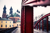 red bridge poznan (ewitsoe) Tags: bridge poznan poland ewitsoe canon eos6dii 50mm street autumn city cityscape urban red most autumnal rain raining water wet