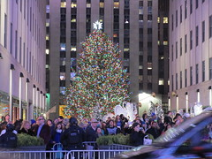 2017 Christmas Tree Rockefeller Center NYC 4472 (Brechtbug) Tags: 2017 christmas tree rockefeller center after lighting 12022017 nyc 30 rock new york city standing up above ice rink with snow shoveling workers skating holiday decoration ornaments night lights lites light oversize load ornament prometheus gold mythological statue sculpture fountain fountains post thanksgiving