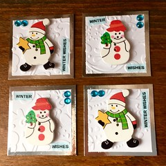 Twinchies for a swap (CraftyBev) Tags: white gems stamping embossing snowman winterwonderland