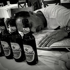 Life can be overwhelming... (MyEyeSoul) Tags: bali bintang portrait blackandwhite bw monochrome restaurant food dinner beer drinking drinks asia indonesia fun travel tourism tourist