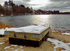 December - Swimming Raft Beached for the Winter (Stan's Gallery) Tags: winter snow pond refelction december sunlight water waterscape clouds dock raft beach sand trees