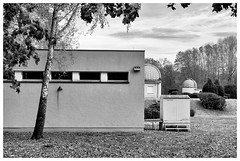 Observatory (awbaganz) Tags: archenhold observatory berlin architecture building fall autumn outdoor sky bw monochrome sonya7ii helios helios44 58mm birch