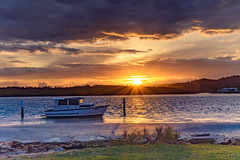 Overcast Sunrise Waterscape (Merrillie) Tags: daybreak woywoy sun color boat overcasst cloudy water coast dawn beauty landscape weather newsouthwales clouds bay nsw brisbanewater light scenery beautiful scene nature scenic coastal sky waterscape view centralcoast sunrise australia