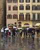 Rita Crane Photography: Rainy Day Colors, Florence (Rita Crane Photography) Tags: rain umbrellas florence people reflections italy building piazzadellasignoria wwwritacranestudiocom ritacranephotography tuscany restaurant