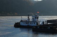 URR Tow Boat (GLC 392) Tags: duquesne pa pennsylvania urr union railroad barge tow boat coal shuffle shuffler mover mon mongahela river steam fog american flag
