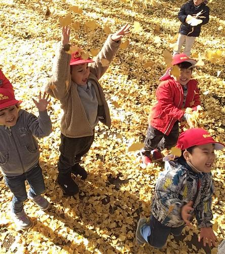 Confettiiii! We loved to play on a yellow carpet!🍂💛 . Starkids International Preschool, Tokyo. #starkids #international #preschool #school #children #kids #kinder #kindergarten #daycare #fun #shibakoen #minatoku #tokyo #japan #ins