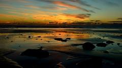 Reflejos en la orilla. Reflections on the shore (.Guillermo.) Tags: puesta de sol sunset océano cielo sky mar sea agua water arena sand paisaje landscape colores colours nikon sigma