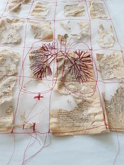 work in progress (Ines Seidel) Tags: workinprogress redthread divinecomedy alteredbook story breathing lungs red stitching machinestitching sewing pattern fabric paperart fiberart