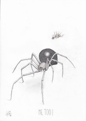 Me too ! (Klaas van den Burg) Tags: blackwidow spider metoo blackandwhite humor funny sarcasm realism pencil