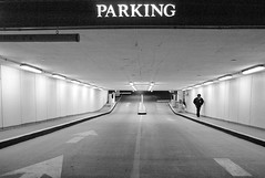 PARKING (nelhiebelv) Tags: parking entrance underground lone person night cincinnati
