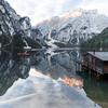 Dolomite Sunrise (Fabian Fortmann) Tags: italy italien lagodibraies lake pragser wildsee dolomiten dolomiti alpen alps boat reflection mountain sunrise alpenglühen