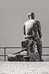 Snowman (whistlingtent) Tags: fiddlersgreen northshields raylonsdale sculpture statue welding metal steel rusty snow memorial trawlermen flickr