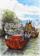 Moore's Wharf (panda1.grafix) Tags: sydneyharbour mooreswharf townsplace seascape port sketch