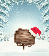 Christmas holiday background with wooden sign and Sana hat. Vector. (everythingisfivedollar) Tags: abstract art background banner box candy cane card celebration christmas cold december decoration design forest gift happy hat holiday home house illustration isolated landscape merry nature present santa season sign snow snowfall snowflake tree vector village winter wooden xmas year