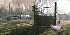 Down on the farm @ Habitat Springs (ᗷOOᑎᕮ ᗷᒪᗩᑎᑕO) Tags: secondlife chicken well car rusty truck grass farmhouse countryside trees sky shadows bucket