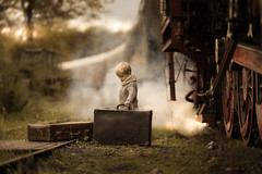ready to go... (iwona_podlasinska) Tags: child train kid suitcase tracks steam