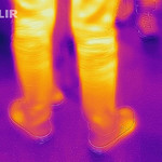 Thermal image of a passerby's legs - FLIR infrared camera / iPhone thumbnail