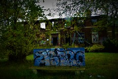 HBM-at the old Kronk (SCOTTS WORLD) Tags: adventure abandoned america architecture americana detroit digital decay dilapidated detail destroyed desolate deserted historic hbm blue brick building blight bench sky shadow sign seat october 2017 brown bleak green grass graffiti trees nature michigan motown midwest motorcity mcgraw panasonic pov perspective urban usa unitedstates urbex urbanexploring urbandecay urbanart outside windows weathered brush sport boxing