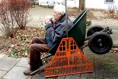 Coffee Break (Joseph Hollick) Tags: coffeebreak flickrfriday wheelbarrow rake backyard