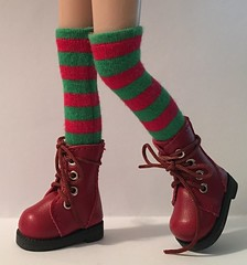 Christmas 2017 Series...Tall Red and Green Striped Socks...For Blythe...