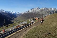 MGB - Station Nätschen Oberalp (Kecko) Tags: 2017 kecko switzerland swiss schweiz suisse svizzera innerschweiz zentralschweiz uri nätschen oberalp pass oberalppass matterhorngotthardbahn railway railroad mgb eisenbahn bahn bahnhof station gleis track baustelle constructionsite schmalspur zahnstange abt mountain swissphoto geotagged geo:lat=46642530 geo:lon=8615390