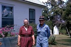 Missouri Farmer and Wife 1973 (eddiegirdner@gmail.com) Tags: princeton missouri mercer county farmer yard 1973 farmhouse usa flowers summertime outhouse eddie girdner
