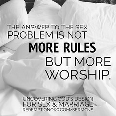 """""""The answer to the sex problem not more rules but more worship. Sex is an awesome gift but an awful god."""" Hear more from the sermon """"Sex: An Awesome Gift, An Awful God"""" at http://ift.tt/1FC0mOe or podcast on iTunes. #thenakedtruth #relationships #edmond # (rcokc) Tags: """"the answer sex problem more rules but worship is an awesome gift awful god"""" hear from sermon """"sex redemptionokccomsermons or podcast itunes thenakedtruth relationships edmond okc oklahoma"""