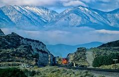 Frosty dawn at Cajon Summit (rolfstumpf) Tags: usa california cajonpass bnsf cajonsub railway railroad trains mountains morning twilight santafe warbonnet emd gp60m