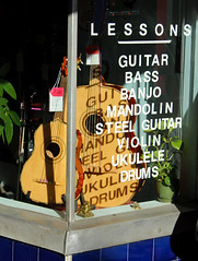 Shadowy Words in Chinatown (Robb Wilson) Tags: chinatown losangeles downtownla giftshops musicalinstruments musiclessons
