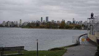 Autumnal glimpses: High tide at Kits Beach with downtown Vancouver in the distance