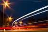 Attractive traffic (kimbenson45) Tags: kidlington colorful colors colourful colours curved curves curving curvy dusk evening lights motion movement outdoors red starburst traffictrails trails twilight white yellow