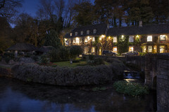 Swan Hotel (Roger.C) Tags: cotswolds thecotswolds gloucestershire glos bibury swanhotel hotel beautiful lights lighting dusk night evening bluehour thebluehour hdr singleraw tonemapped photomatrix textures nightshot water reflections buildings nikon d610 tamron 2470 longexposure