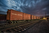 Boxcars (dejavue.us) Tags: lightpainting nikon d800 vle ely nevadanorthern longexposure nightphotography 180350mmf3545 train boxcar fullmoon nnry nikkor clouds nevada railroad