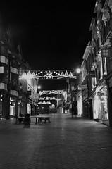 up and down the road (Sundornvic) Tags: shrewsbury light dark night bw