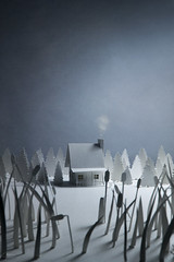 (CatMacBride) Tags: home cabin forest woods lake reeds smoke paper papercraft catherinemacbride
