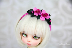 Orchid head pieces (AnnaZu) Tags: orchids headpiece headband magnet dollfairyland vesnushkahandmade commission etsy sale polymer clay abjd bjd balljointed doll